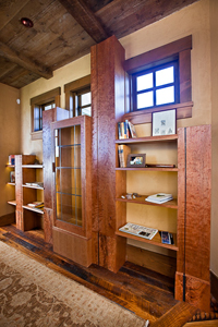 bookcase and glass display case